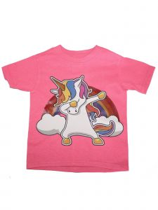 Girls Pink Dabbing Unicorn Print Short Sleeve Cotton Soft T-Shirt 6-16