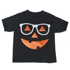 Unisex Big Kids Black Shimmery Pumpkin Face Cotton T-Shirt 7-16