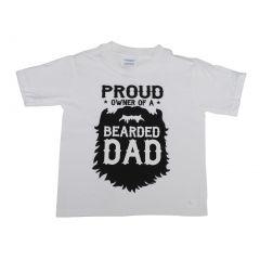 """Unisex White """"Proud Owner Of A Bearded Dad"""" Cotton Trendy T-Shirt 6-16"""
