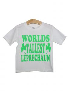 "Unisex Kids White Green Shamrock ""Worlds Tallest Leprechaun"" T-Shirt 6-16"