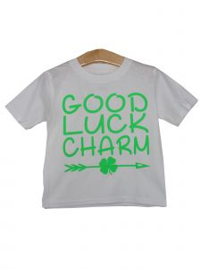 "Unisex Little Kids White Green Shamrock ""Good Luck Charm"" Print T-Shirt 2T-5"
