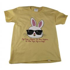 Big Kids Unisex Yellow Hip Hop Bunny Print Short Sleeve T-Shirt 6-16