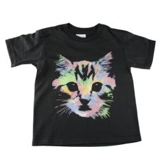 Big Kids Unisex Black Neon Kitten Face Print Short Sleeve T-Shirt 6-16