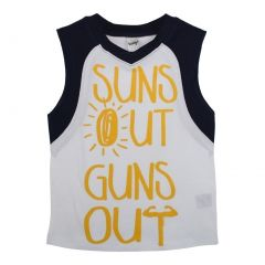 "Unisex White Yellow ""Suns Out Guns Out"" Print Cotton Sleeveless Top 5-16"