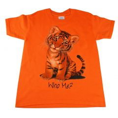 Big Kids Unisex Orange Who Me Tiger Print Short Sleeve T-Shirt 6-16
