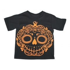 Girls Black Pumpkin Sugar Skull Halloween Cotton T-Shirt 6-16