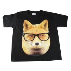 Little Kids Unisex Black Fox Wearing Glasses Print Short Sleeve T-Shirt 3T-5