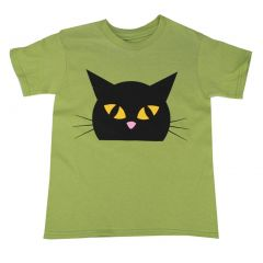 Big Girls Green Cute Cat Front And Back Cotton T-Shirt 6-16