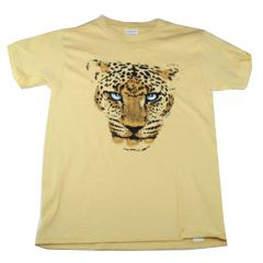 Big Boys Yellow Leopard Face Print Short Sleeve T-Shirt 6-16