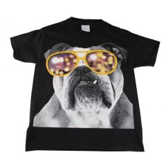 Little Kids Unisex Black Bulldog Wearing Glasses Print Short Sleeve T-Shirt 4T-5