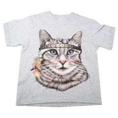 Big Girls Gray Native American Cat Print Short Sleeve T-Shirt 6-16