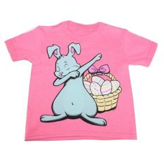 Big Girls Pink Bunny Print Short Sleeve T-Shirt 6-16