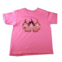 Little Girls Pink Beach Bums Print Short Sleeve T-Shirt 2T-5