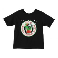 "Big Kids Unisex Black ""Obsessive Christmas Disorder"" Print Cotton T-Shirt 6-16"