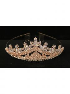 Cinderella Couture Girls Rose Gold Cubic Zirconium Elegant Tiara