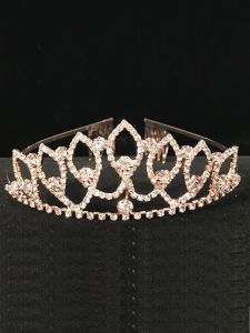 Cinderella Couture Girls Rose Gold Crystal Elegant Flower Girl Pageant Tiara