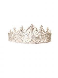 Cinderella Couture Girls Silver Rhinestone Embroidery Flower Girl Pageant Tiara