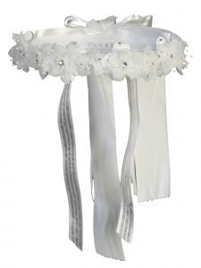 Angels Garment Girls White Flower Ribbon Back Special Occasion Hair Wreath Crown