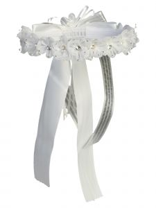 Angels Garment Girls White Flower Adorned Special Occasion Hair Wreath Crown