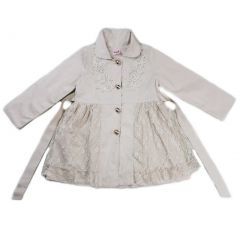 Wenchoice Girls Ivory Lace Wind-Resistant Long Sleeved Coat S (9-24M)-XL (6-8)