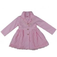 Wenchoice Girls Pink Lace Wind-Resistant Long Sleeved Coat S (9-24M)-XL (6-8)