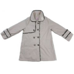 Wenchoice Girls Ivory Contrast Trim Double Breasted Coat S (9-24M)-XL (6-8)