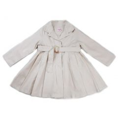 Wenchoice Girls Ivory Crease Wind-Resistant Belted Coat S (9-24M)-XL (6-8)