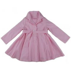Wenchoice Girls Pink Crease Wind-Resistant Belted Coat S (9-24M)-XL (6-8)