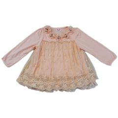 Wenchoice Girls Coral Lace Covered Flower Embellished Shirt S (9-24M)-XL (6-8)