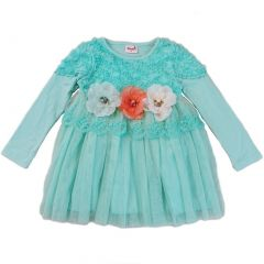 Wenchoice Girls Teal 3-D Flowers Lace Embellished Dress S (9-24M)-XL (6-8)