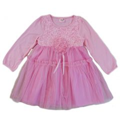 Wenchoice Girls Pink 3-D Flower Adorned Long Sleeve Dress S (9-24M)-XL (6-8)