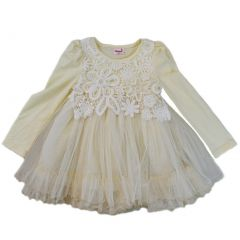 Wenchoice Girls Ivory Lace Covered Long Sleeved Dress S (9-24M)-XL (6-8)