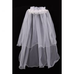 Girls White Floral Pearl Adorned Crown Double Layer Communion Flower Girl Veil