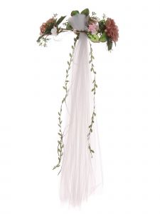 Girls White Pink Rose Embellished Crown Tulle Communion Flower Girl Veil