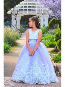 Girls Lavender Rich Rhinestone Embroidery California Flower Girl Dress 6-10