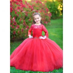 Triumph Dress Little Girls Red Multi-Layer Tulle Carmen Flower Girl Dress 4-8