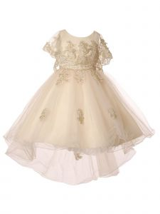 Little Girls Champagne Coiled Lace Sash Cape Hi-Low Flower Girl Dress 2-6
