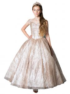 Little Girls Champagne Glitter Pattern Cold Shoulder Pageant Ball Gown 3-6