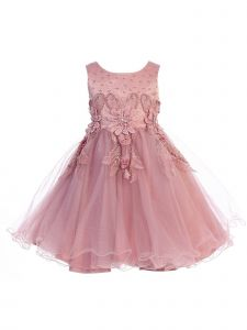 Chic Baby Girls Beaded Flower Jeweled Tea Length Flower Girl Occasion Dress 2T-12