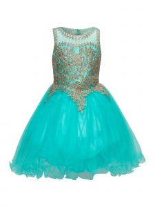 Cinderella Couture Little Girls Aqua Coiled Lace Tulle Christmas Dress 4-6