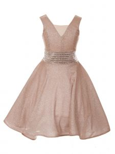 Cinderella Couture Little Girls Blush Sparkling Studs Flower Girl Dress 4-6
