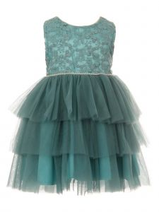 Cinderella Couture Baby Girls Green Pearl Tulle Christmas Dress 6M-24M