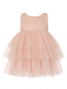 Cinderella Couture Baby Girls Pink Lace Pearl Tulle Christmas Dress 6M-24M