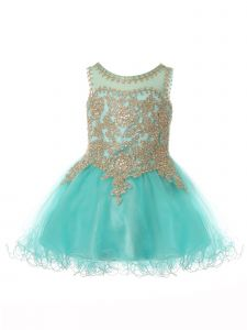 Baby Girls Aqua Gold Coiled Lace Studded Illusion Flower Girl Dress 6-24 Months