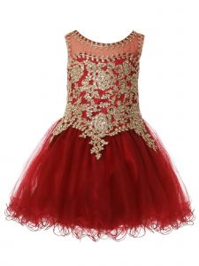 Baby Girls Burgundy Gold Coiled Lace Studded Illusion Christmas Dress 12 Months