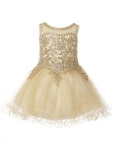 Baby Girls Champagne Coiled Lace Studded Illusion Christmas Dress 6-24 Months