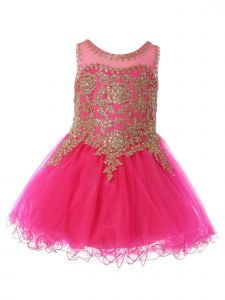Baby Girls Fuchsia Gold Coiled Lace Studded Illusion Flower Girl Dress 12 Months