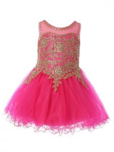 Baby Girls Fuchsia Gold Coiled Lace Studded Illusion Flower Girl Dress 6-24 Months