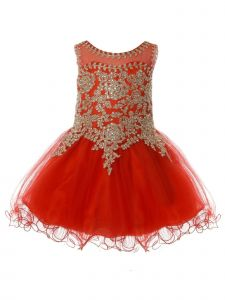 Baby Girls Red Gold Coiled Lace Studded Illusion Christmas Dress 6-24 Months