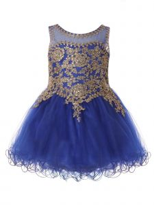 Baby Girls Royal Blue Gold Lace Studded Illusion Christmas Dress 6-24 Months